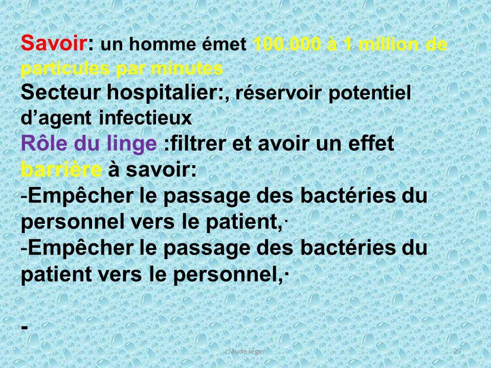 claude léger27 Savoir: un homme émet 100.000 à 1 million de particules par minutes Secteur hospitalier:, réservoir potentiel dagent infectieux Rôle du