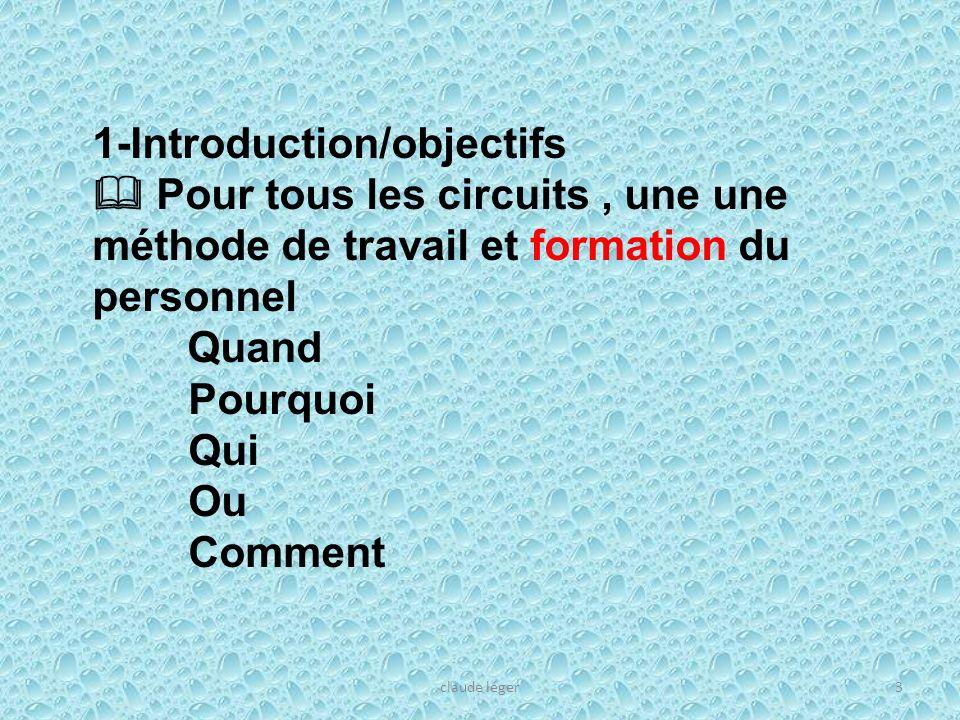 3 1-Introduction/objectifs Pour tous les circuits, une une méthode de travail et formation du personnel Quand Pourquoi Qui Ou Comment