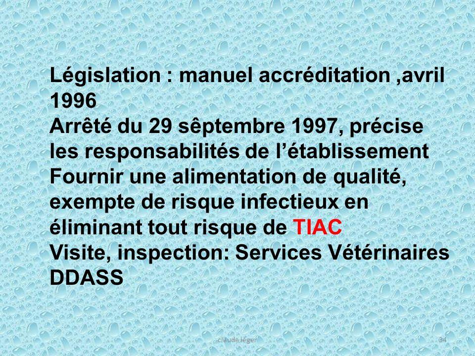 claude léger34 Législation : manuel accréditation,avril 1996 Arrêté du 29 sêptembre 1997, précise les responsabilités de létablissement Fournir une al