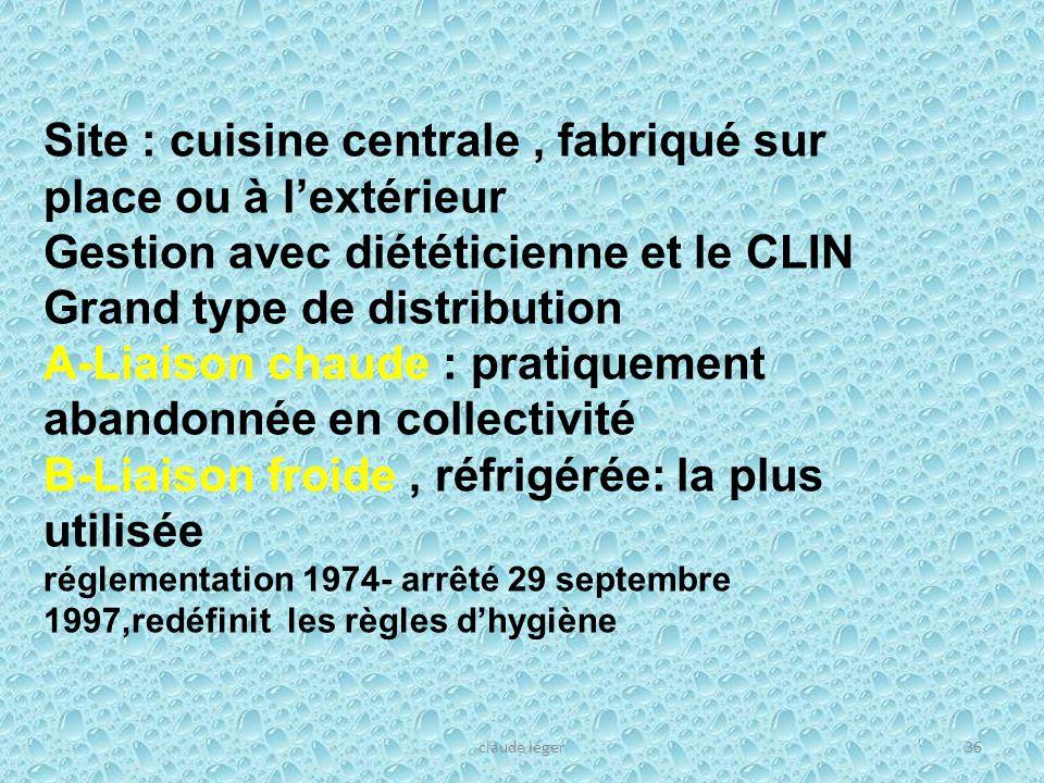 claude léger36 Site : cuisine centrale, fabriqué sur place ou à lextérieur Gestion avec diététicienne et le CLIN Grand type de distribution A-Liaison