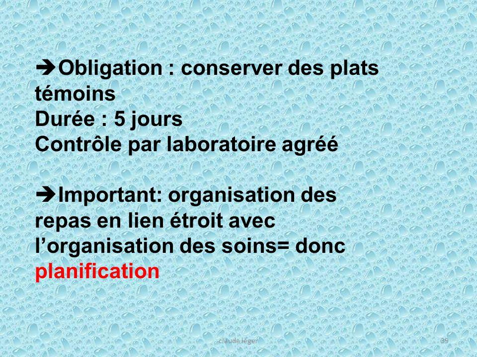 claude léger39 Obligation : conserver des plats témoins Durée : 5 jours Contrôle par laboratoire agréé Important: organisation des repas en lien étroi