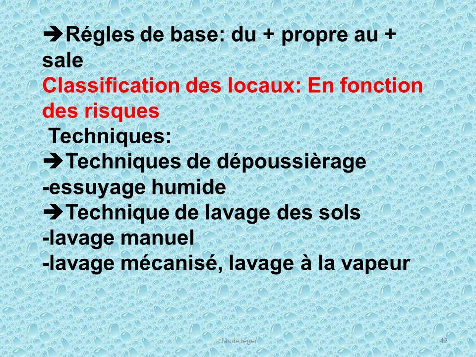claude léger42 Régles de base: du + propre au + sale Classification des locaux: En fonction des risques Techniques: Techniques de dépoussièrage -essuy