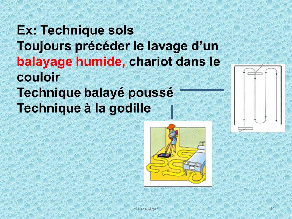 claude léger45 Ex: Technique sols Toujours précéder le lavage dun balayage humide, chariot dans le couloir Technique balayé poussé Technique à la godi
