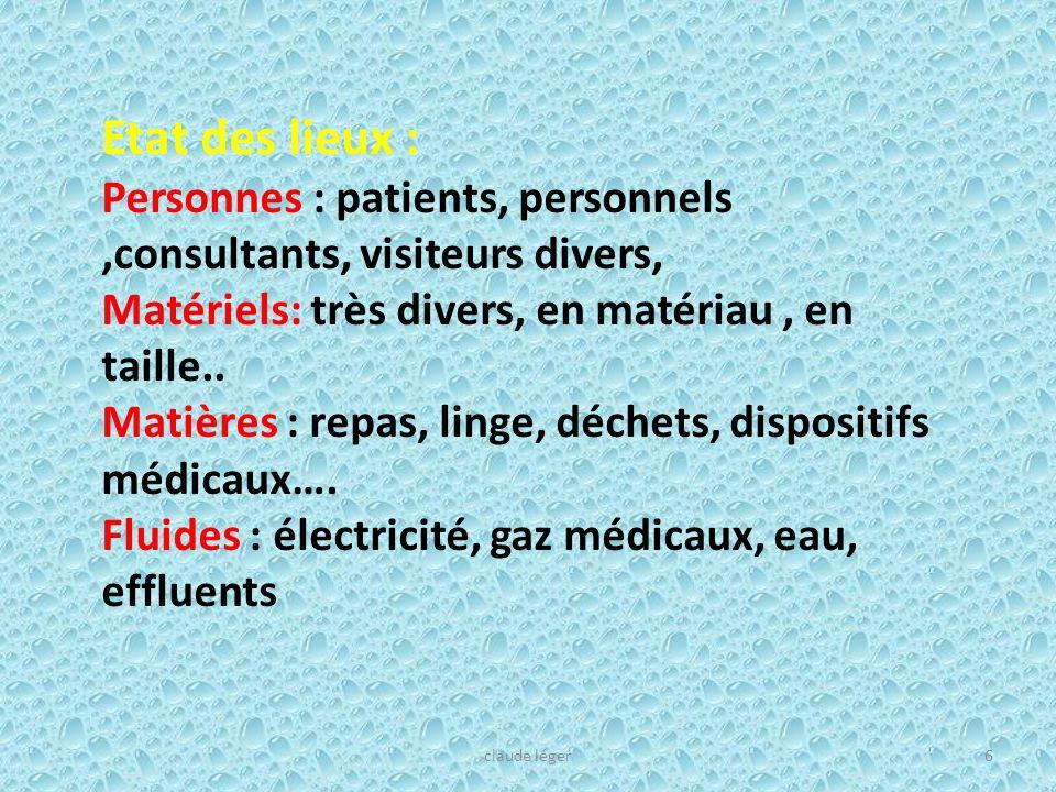Etat des lieux : Personnes : patients, personnels,consultants, visiteurs divers, Matériels: très divers, en matériau, en taille.. Matières : repas, li