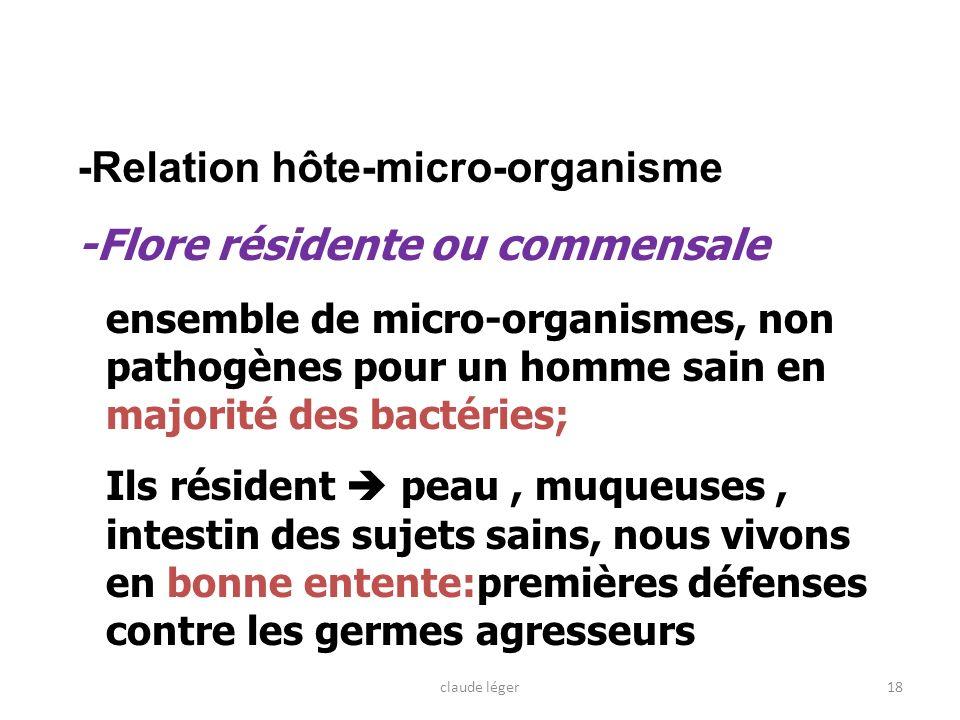 18 -Relation hôte-micro-organisme -Flore résidente ou commensale ensemble de micro-organismes, non pathogènes pour un homme sain en majorité des bacté