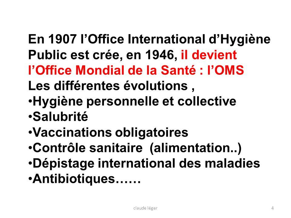 En 1907 lOffice International dHygiène Public est crée, en 1946, il devient lOffice Mondial de la Santé : lOMS Les différentes évolutions, Hygiène per