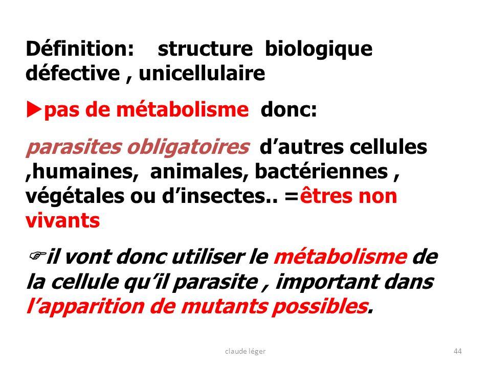 44 Définition: structure biologique défective, unicellulaire pas de métabolisme donc: parasites obligatoires dautres cellules,humaines, animales, bact