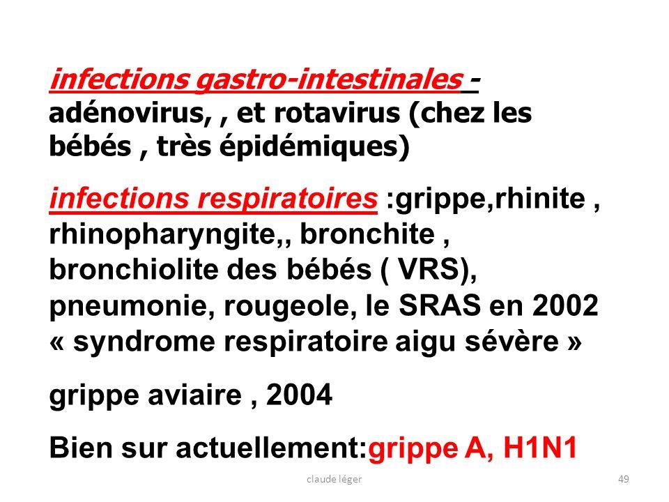 infections gastro-intestinales - adénovirus,, et rotavirus (chez les bébés, très épidémiques) infections respiratoires :grippe,rhinite, rhinopharyngit