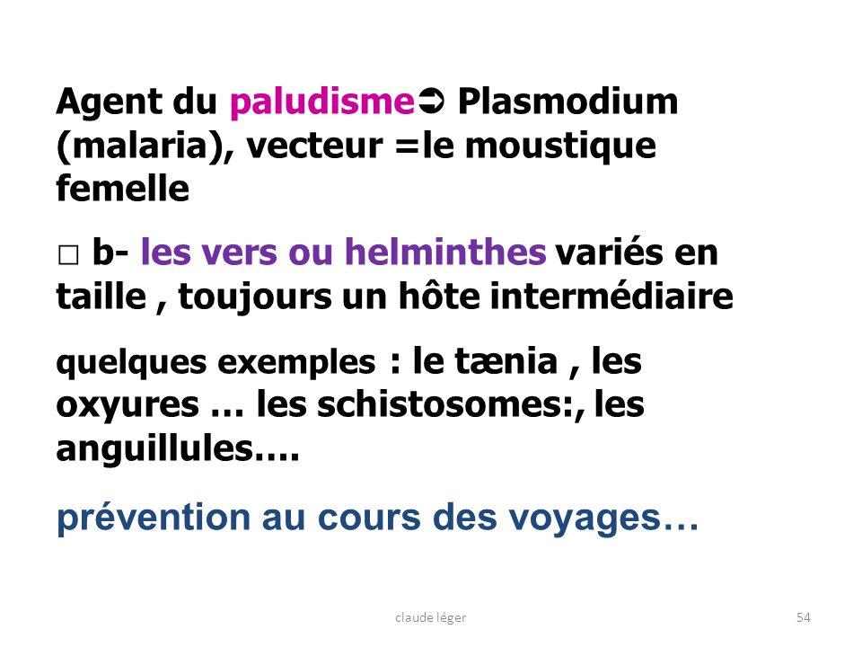 Agent du paludisme Plasmodium (malaria), vecteur =le moustique femelle b- les vers ou helminthes variés en taille, toujours un hôte intermédiaire quel