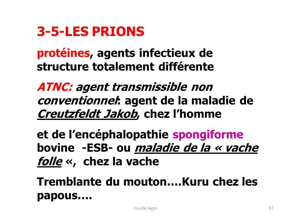 57 3-5-LES PRIONS protéines, agents infectieux de structure totalement différente ATNC: agent transmissible non conventionnel: agent de la maladie de