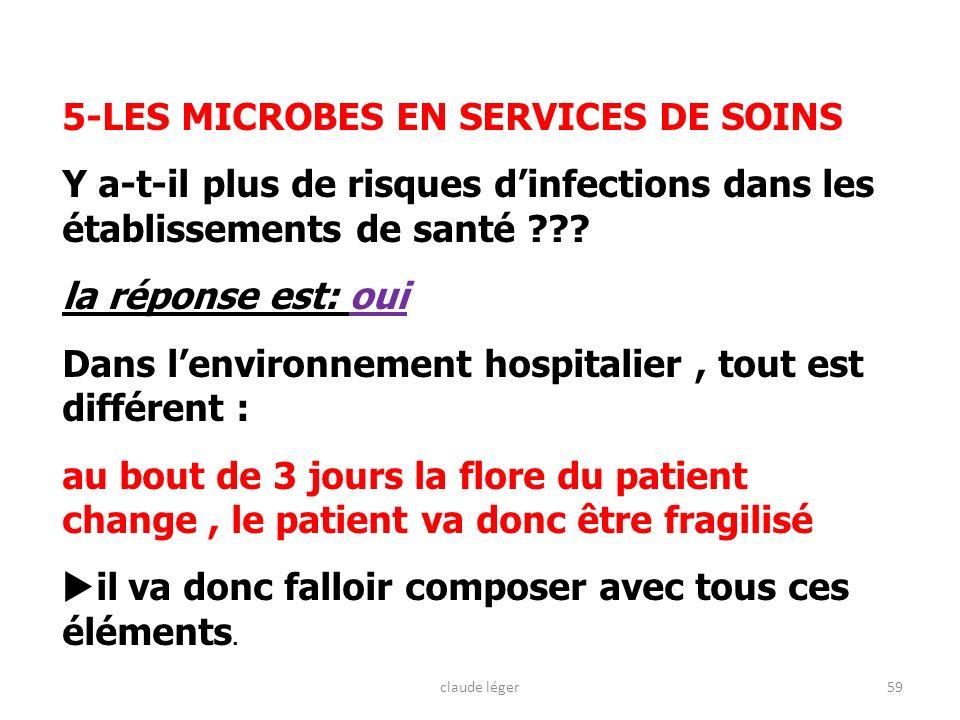 59 5-LES MICROBES EN SERVICES DE SOINS Y a-t-il plus de risques dinfections dans les établissements de santé ??? la réponse est: oui Dans lenvironneme