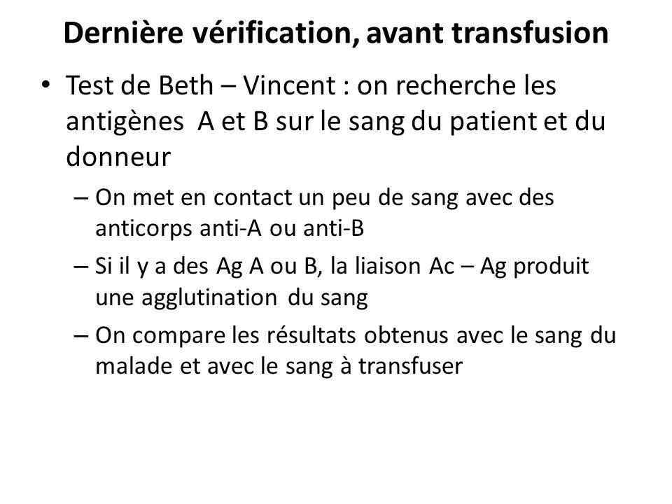 Dernière vérification, avant transfusion Test de Beth – Vincent : on recherche les antigènes A et B sur le sang du patient et du donneur – On met en c