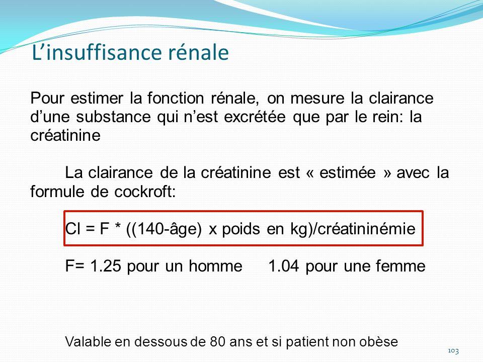 Pour estimer la fonction rénale, on mesure la clairance dune substance qui nest excrétée que par le rein: la créatinine La clairance de la créatinine