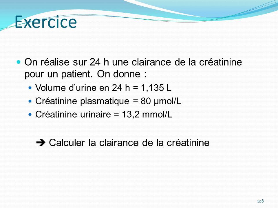 Exercice On réalise sur 24 h une clairance de la créatinine pour un patient. On donne : Volume durine en 24 h = 1,135 L Créatinine plasmatique = 80 μm