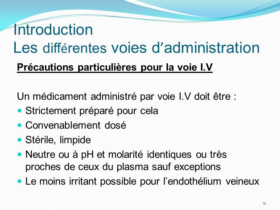 Précautions particulières pour la voie I.V Un médicament administré par voie I.V doit être : Strictement préparé pour cela Convenablement dosé Stérile