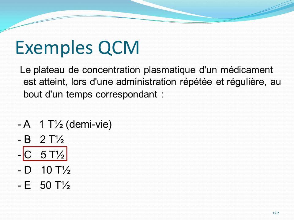 Exemples QCM Le plateau de concentration plasmatique d'un médicament est atteint, lors d'une administration répétée et régulière, au bout d'un temps c