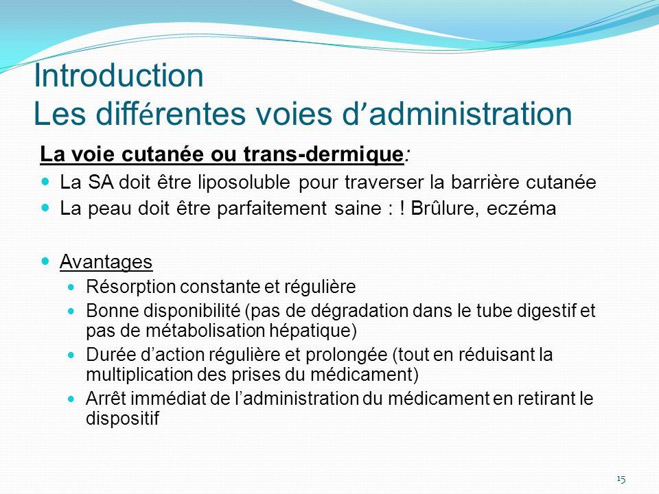 Introduction Les diff é rentes voies d administration La voie cutanée ou trans-dermique: La SA doit être liposoluble pour traverser la barrière cutané