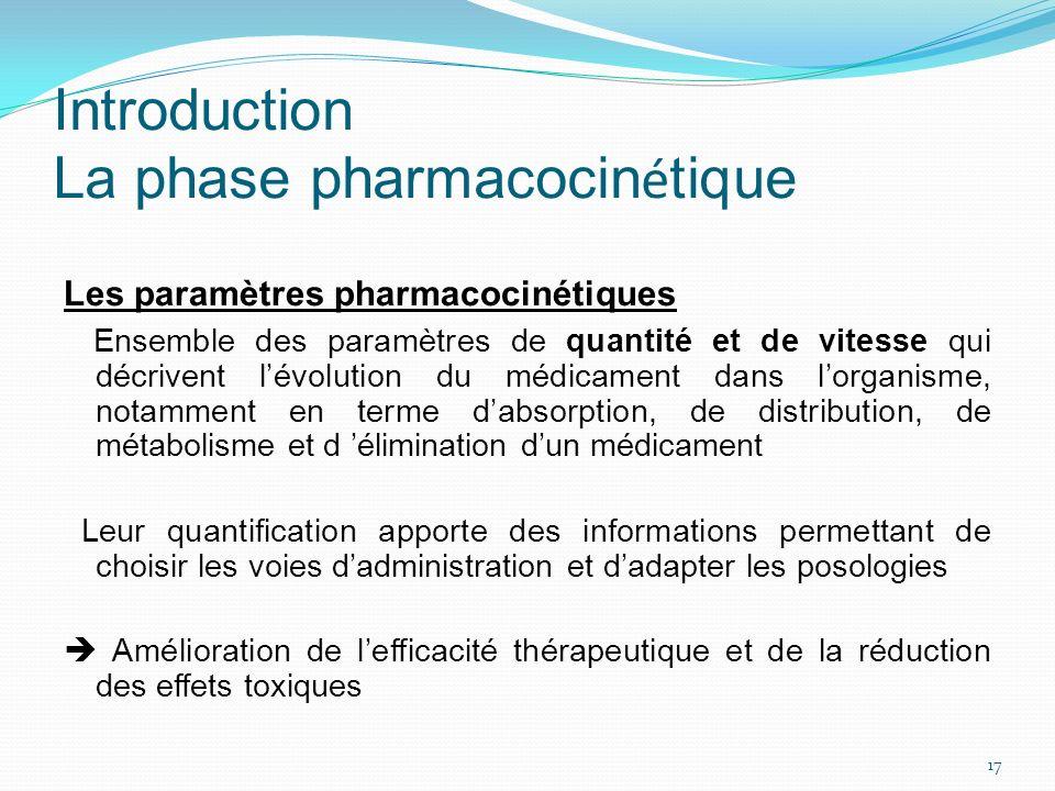 Introduction La phase pharmacocin é tique Les paramètres pharmacocinétiques Ensemble des paramètres de quantité et de vitesse qui décrivent lévolution