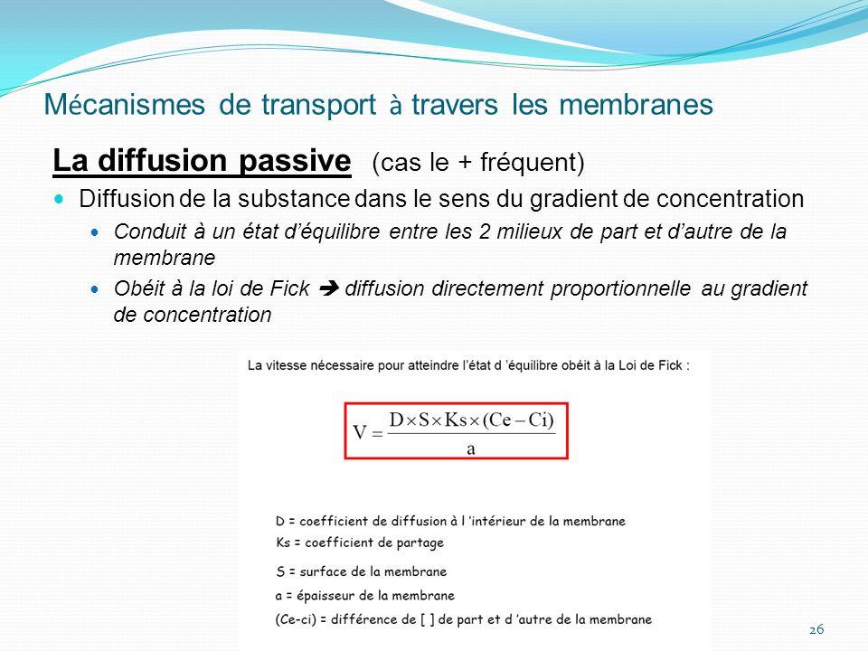 M é canismes de transport à travers les membranes La diffusion passive (cas le + fréquent) Diffusion de la substance dans le sens du gradient de conce