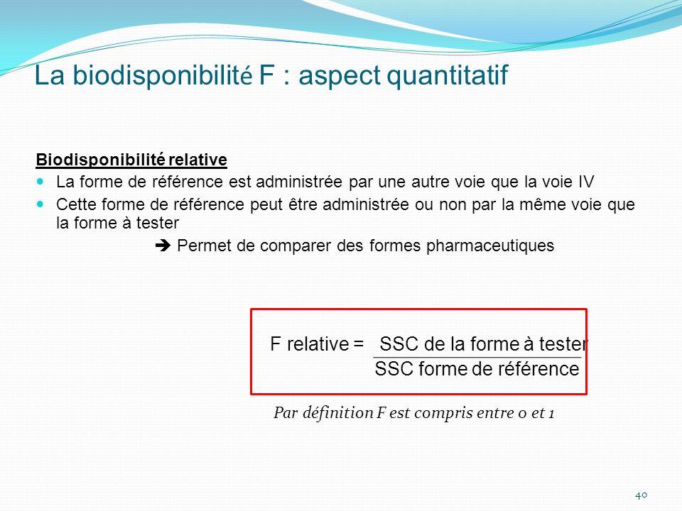 La biodisponibilit é F : aspect quantitatif Biodisponibilité relative La forme de référence est administrée par une autre voie que la voie IV Cette fo