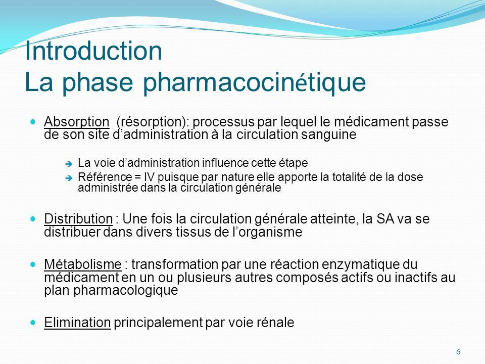Introduction La phase pharmacocin é tique Absorption (résorption): processus par lequel le médicament passe de son site dadministration à la circulati