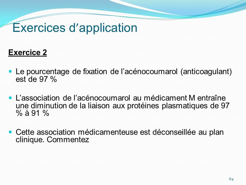 Exercices d application Exercice 2 Le pourcentage de fixation de lacénocoumarol (anticoagulant) est de 97 % Lassociation de lacénocoumarol au médicame