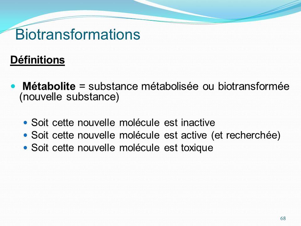 Biotransformations Définitions Métabolite = substance métabolisée ou biotransformée (nouvelle substance) Soit cette nouvelle molécule est inactive Soi