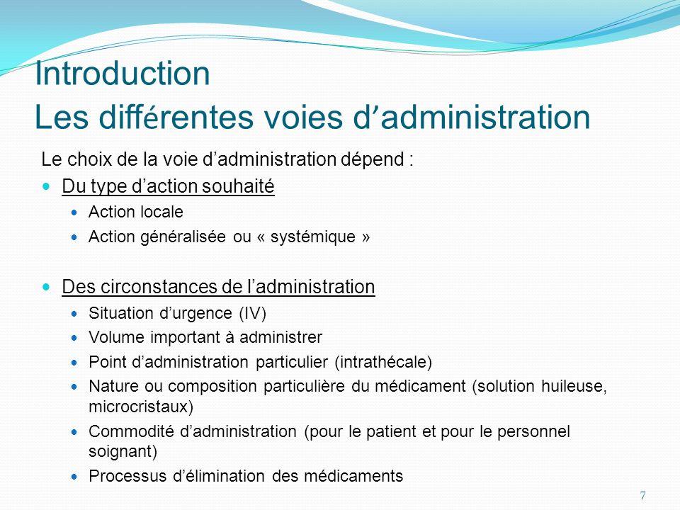 Le choix de la voie dadministration dépend : Du type daction souhaité Action locale Action généralisée ou « systémique » Des circonstances de ladminis