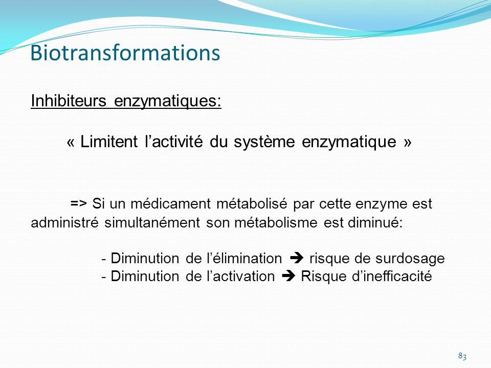 Inhibiteurs enzymatiques: « Limitent lactivité du système enzymatique » => Si un médicament métabolisé par cette enzyme est administré simultanément s
