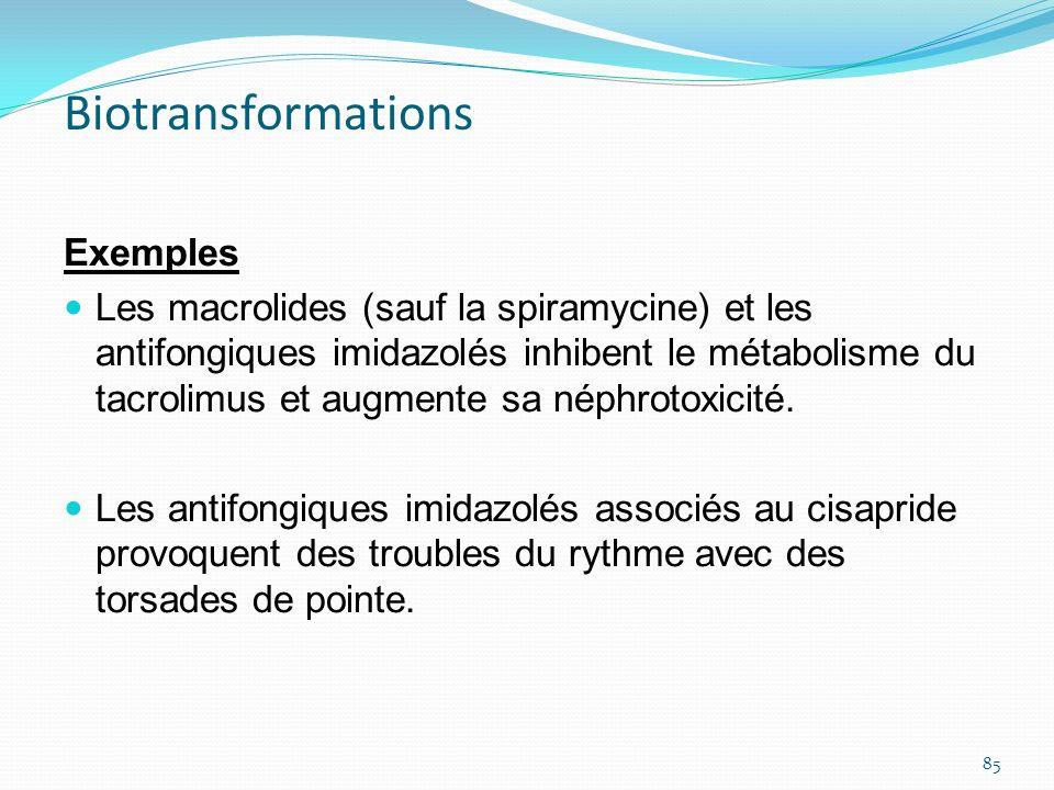 Exemples Les macrolides (sauf la spiramycine) et les antifongiques imidazolés inhibent le métabolisme du tacrolimus et augmente sa néphrotoxicité. Les