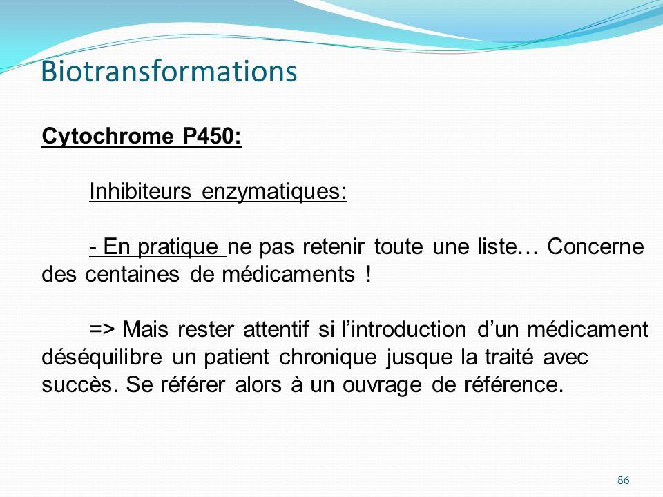Cytochrome P450: Inhibiteurs enzymatiques: - En pratique ne pas retenir toute une liste… Concerne des centaines de médicaments ! => Mais rester attent