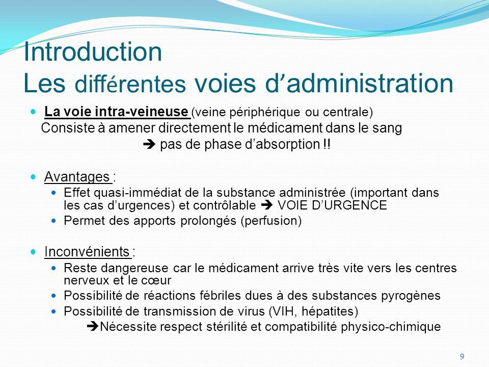 Introduction Les diff é rentes voies d administration La voie intra-veineuse (veine périphérique ou centrale) Consiste à amener directement le médicam