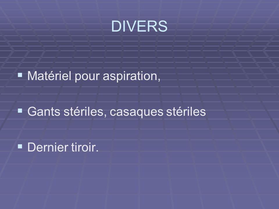 DIVERS Matériel pour aspiration, Gants stériles, casaques stériles Dernier tiroir.