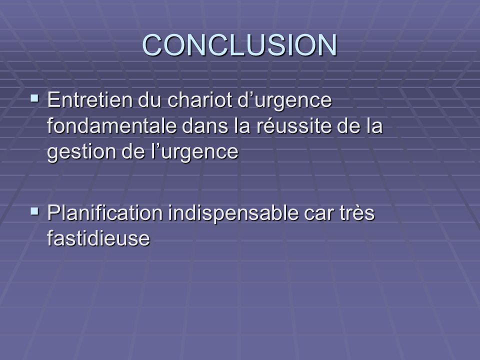 CONCLUSION Entretien du chariot durgence fondamentale dans la réussite de la gestion de lurgence Entretien du chariot durgence fondamentale dans la ré