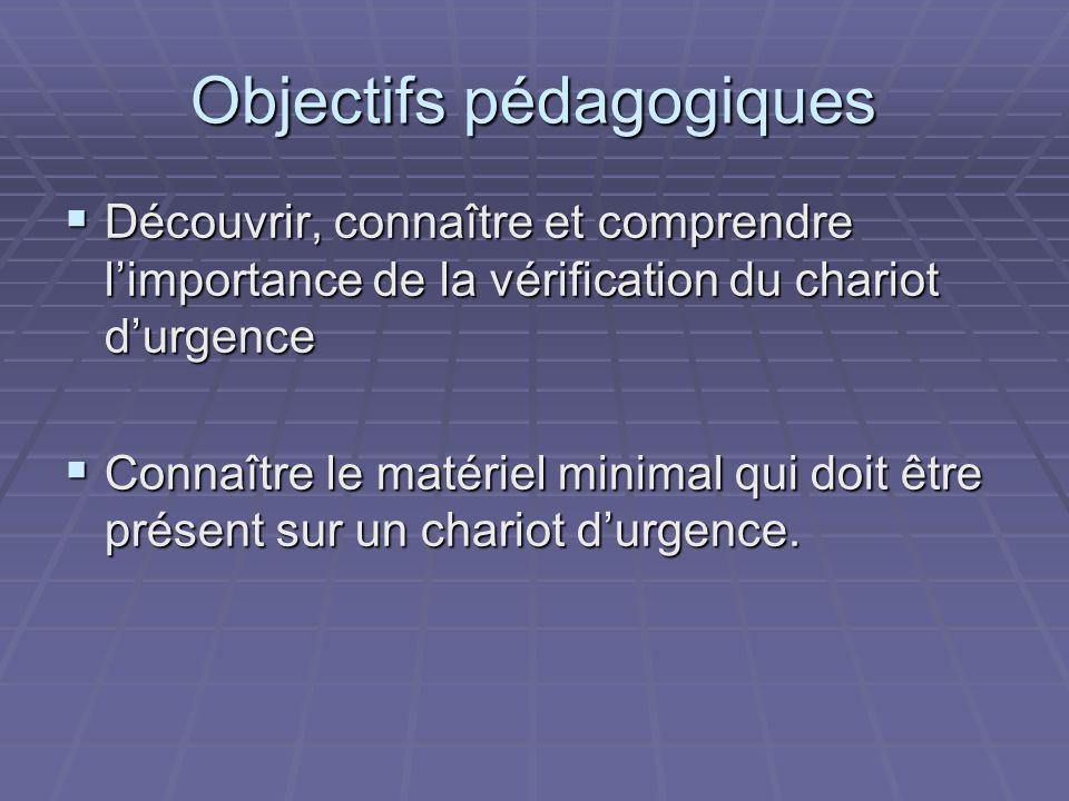 Objectifs pédagogiques Découvrir, connaître et comprendre limportance de la vérification du chariot durgence Découvrir, connaître et comprendre limpor