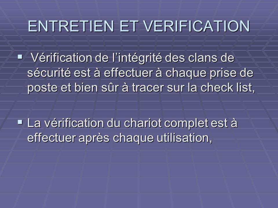 ENTRETIEN ET VERIFICATION Vérification de lintégrité des clans de sécurité est à effectuer à chaque prise de poste et bien sûr à tracer sur la check l