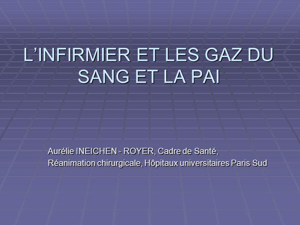 LINFIRMIER ET LES GAZ DU SANG ET LA PAI Aurélie INEICHEN - ROYER, Cadre de Santé, Réanimation chirurgicale, Hôpitaux universitaires Paris Sud