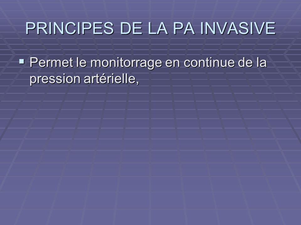 PRINCIPES DE LA PA INVASIVE Permet le monitorrage en continue de la pression artérielle, Permet le monitorrage en continue de la pression artérielle,