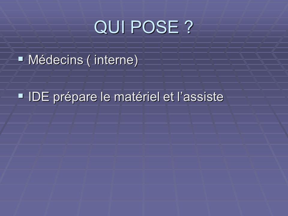 QUI POSE ? Médecins ( interne) Médecins ( interne) IDE prépare le matériel et lassiste IDE prépare le matériel et lassiste