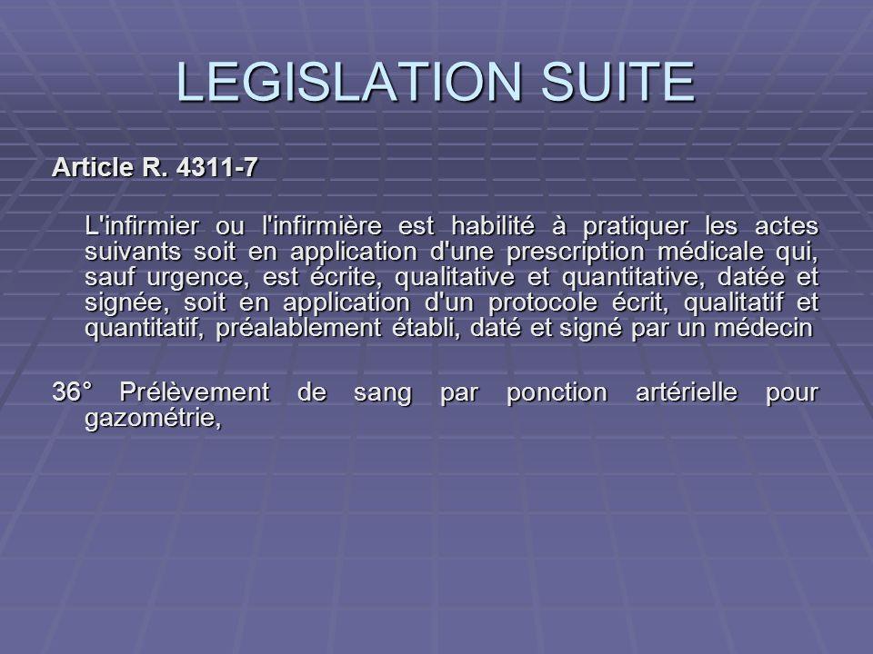 LEGISLATION SUITE Article R. 4311-7 L'infirmier ou l'infirmière est habilité à pratiquer les actes suivants soit en application d'une prescription méd