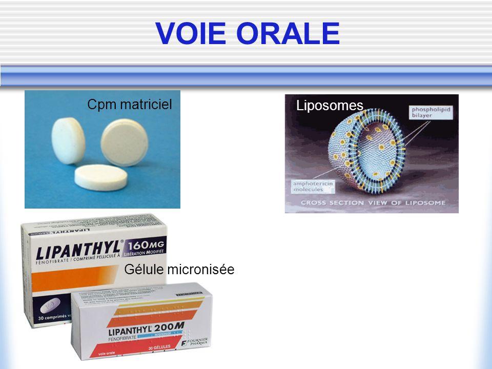 VOIE ORALE Cpm matriciel Liposomes Gélule micronisée