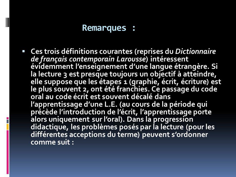 Remarques : Ces trois définitions courantes (reprises du Dictionnaire de français contemporain Larousse) intéressent évidemment lenseignement dune lan