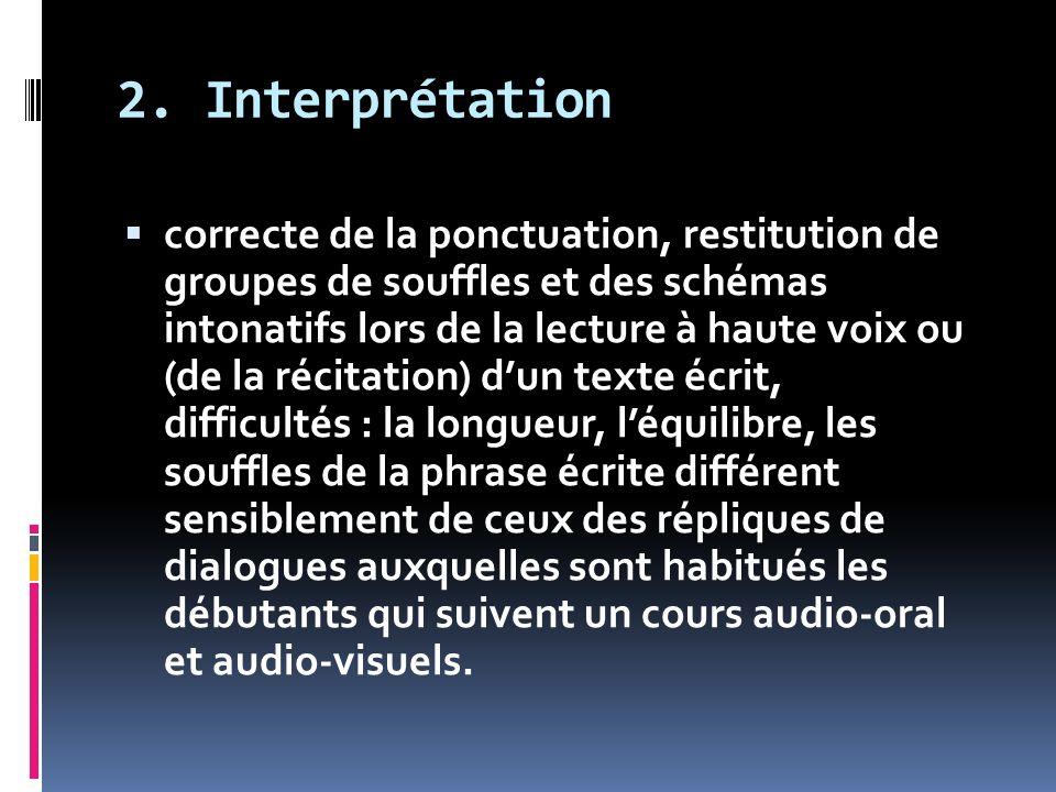 2. Interprétation correcte de la ponctuation, restitution de groupes de souffles et des schémas intonatifs lors de la lecture à haute voix ou (de la r