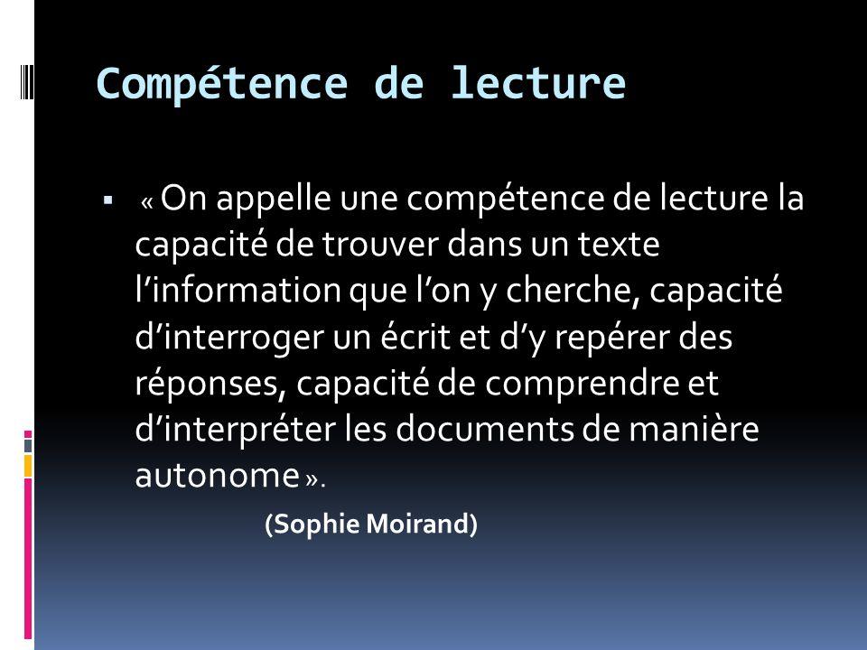 Compétence de lecture « On appelle une compétence de lecture la capacité de trouver dans un texte linformation que lon y cherche, capacité dinterroger