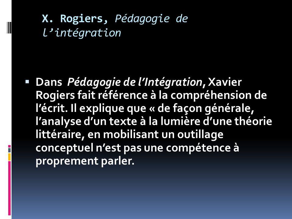 X. Rogiers, Pédagogie de lintégration Dans Pédagogie de lIntégration, Xavier Rogiers fait référence à la compréhension de lécrit. Il explique que « de