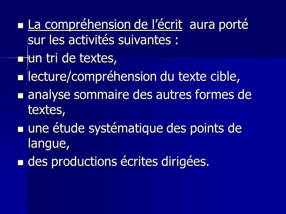 La compréhension de lécrit aura porté sur les activités suivantes : La compréhension de lécrit aura porté sur les activités suivantes : un tri de text