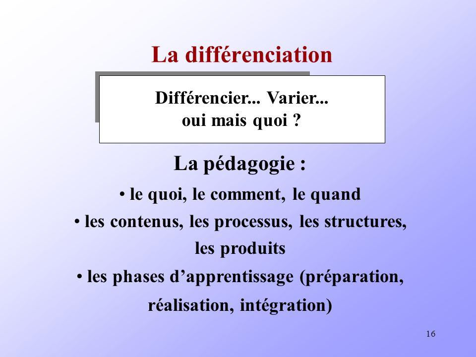 16 La différenciation Différencier...Varier... oui mais quoi .