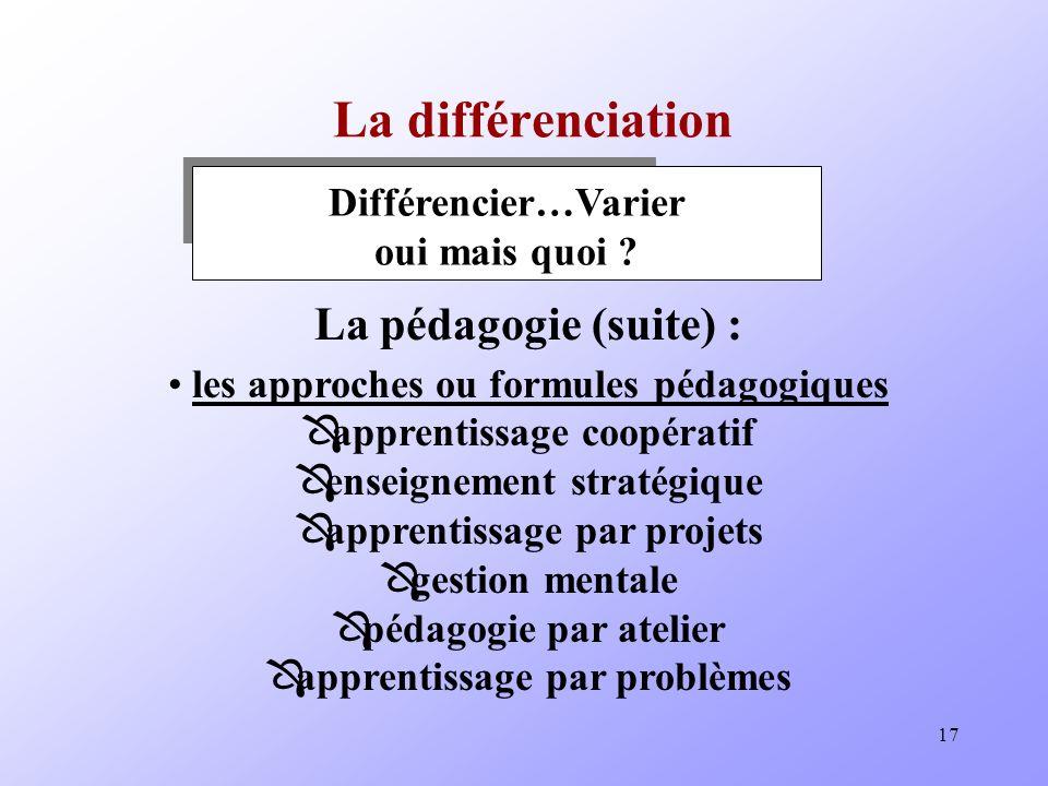 17 La différenciation Différencier…Varier oui mais quoi .