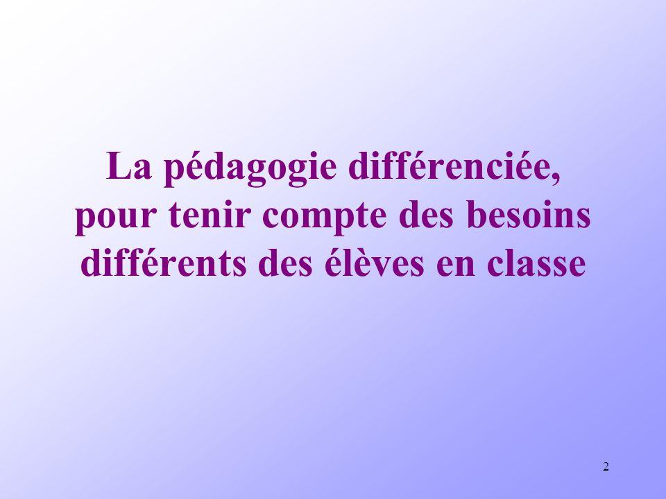 2 La pédagogie différenciée, pour tenir compte des besoins différents des élèves en classe