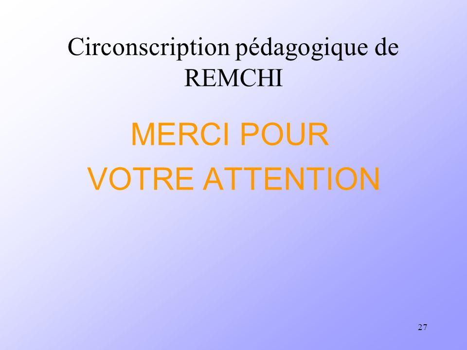 27 Circonscription pédagogique de REMCHI MERCI POUR VOTRE ATTENTION